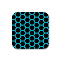HEXAGON2 BLACK MARBLE & TURQUOISE COLORED PENCIL (R) Rubber Coaster (Square)