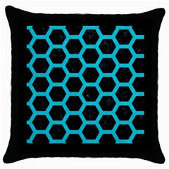 HEXAGON2 BLACK MARBLE & TURQUOISE COLORED PENCIL (R) Throw Pillow Case (Black)
