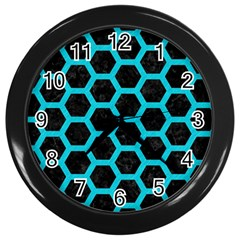 HEXAGON2 BLACK MARBLE & TURQUOISE COLORED PENCIL (R) Wall Clocks (Black)