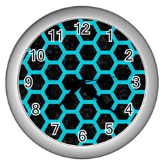 HEXAGON2 BLACK MARBLE & TURQUOISE COLORED PENCIL (R) Wall Clocks (Silver)