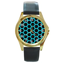 HEXAGON2 BLACK MARBLE & TURQUOISE COLORED PENCIL (R) Round Gold Metal Watch