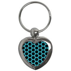HEXAGON2 BLACK MARBLE & TURQUOISE COLORED PENCIL (R) Key Chains (Heart)