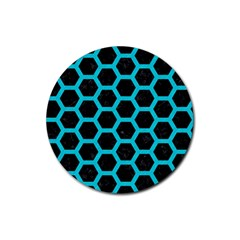 HEXAGON2 BLACK MARBLE & TURQUOISE COLORED PENCIL (R) Rubber Coaster (Round)