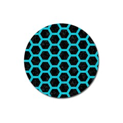 Hexagon2 Black Marble & Turquoise Colored Pencil (r) Magnet 3  (round) by trendistuff