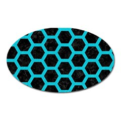 Hexagon2 Black Marble & Turquoise Colored Pencil (r) Oval Magnet by trendistuff
