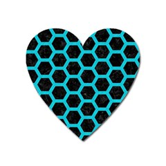 HEXAGON2 BLACK MARBLE & TURQUOISE COLORED PENCIL (R) Heart Magnet