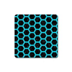 Hexagon2 Black Marble & Turquoise Colored Pencil (r) Square Magnet by trendistuff
