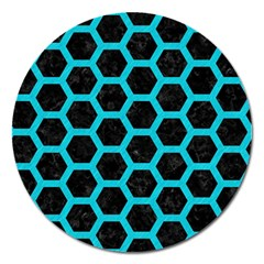 HEXAGON2 BLACK MARBLE & TURQUOISE COLORED PENCIL (R) Magnet 5  (Round)