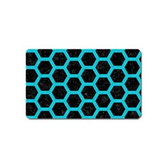 Hexagon2 Black Marble & Turquoise Colored Pencil (r) Magnet (name Card) by trendistuff