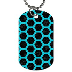 HEXAGON2 BLACK MARBLE & TURQUOISE COLORED PENCIL (R) Dog Tag (One Side)