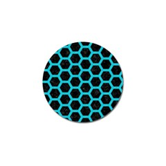 HEXAGON2 BLACK MARBLE & TURQUOISE COLORED PENCIL (R) Golf Ball Marker