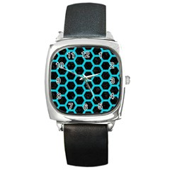 HEXAGON2 BLACK MARBLE & TURQUOISE COLORED PENCIL (R) Square Metal Watch