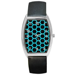 HEXAGON2 BLACK MARBLE & TURQUOISE COLORED PENCIL (R) Barrel Style Metal Watch
