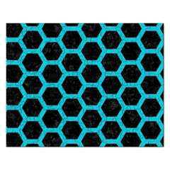HEXAGON2 BLACK MARBLE & TURQUOISE COLORED PENCIL (R) Rectangular Jigsaw Puzzl