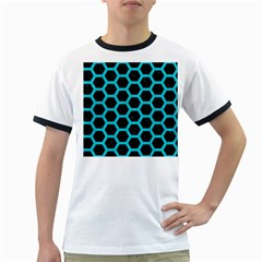 HEXAGON2 BLACK MARBLE & TURQUOISE COLORED PENCIL (R) Ringer T-Shirts