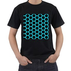 HEXAGON2 BLACK MARBLE & TURQUOISE COLORED PENCIL (R) Men s T-Shirt (Black) (Two Sided)