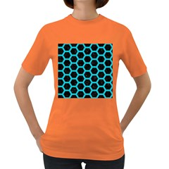 HEXAGON2 BLACK MARBLE & TURQUOISE COLORED PENCIL (R) Women s Dark T-Shirt