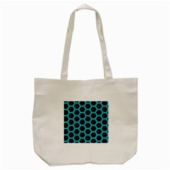 HEXAGON2 BLACK MARBLE & TURQUOISE COLORED PENCIL (R) Tote Bag (Cream)