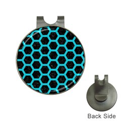 HEXAGON2 BLACK MARBLE & TURQUOISE COLORED PENCIL (R) Hat Clips with Golf Markers