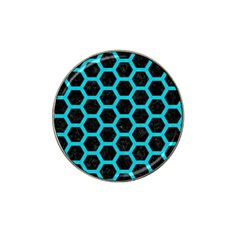 HEXAGON2 BLACK MARBLE & TURQUOISE COLORED PENCIL (R) Hat Clip Ball Marker