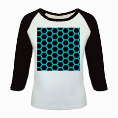 HEXAGON2 BLACK MARBLE & TURQUOISE COLORED PENCIL (R) Kids Baseball Jerseys