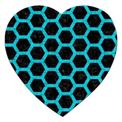 HEXAGON2 BLACK MARBLE & TURQUOISE COLORED PENCIL (R) Jigsaw Puzzle (Heart)