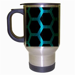 HEXAGON2 BLACK MARBLE & TURQUOISE COLORED PENCIL (R) Travel Mug (Silver Gray)