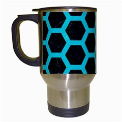 HEXAGON2 BLACK MARBLE & TURQUOISE COLORED PENCIL (R) Travel Mugs (White)