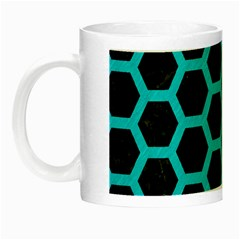 HEXAGON2 BLACK MARBLE & TURQUOISE COLORED PENCIL (R) Night Luminous Mugs