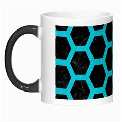 HEXAGON2 BLACK MARBLE & TURQUOISE COLORED PENCIL (R) Morph Mugs