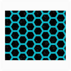 HEXAGON2 BLACK MARBLE & TURQUOISE COLORED PENCIL (R) Small Glasses Cloth