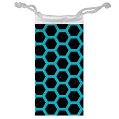 HEXAGON2 BLACK MARBLE & TURQUOISE COLORED PENCIL (R) Jewelry Bag
