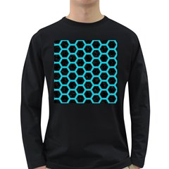 HEXAGON2 BLACK MARBLE & TURQUOISE COLORED PENCIL (R) Long Sleeve Dark T-Shirts