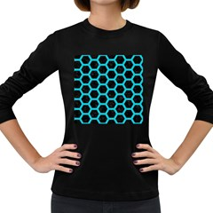 HEXAGON2 BLACK MARBLE & TURQUOISE COLORED PENCIL (R) Women s Long Sleeve Dark T-Shirts