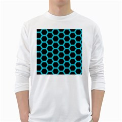 HEXAGON2 BLACK MARBLE & TURQUOISE COLORED PENCIL (R) White Long Sleeve T-Shirts