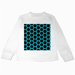 HEXAGON2 BLACK MARBLE & TURQUOISE COLORED PENCIL (R) Kids Long Sleeve T-Shirts