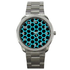 HEXAGON2 BLACK MARBLE & TURQUOISE COLORED PENCIL (R) Sport Metal Watch