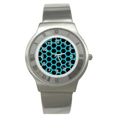 HEXAGON2 BLACK MARBLE & TURQUOISE COLORED PENCIL (R) Stainless Steel Watch