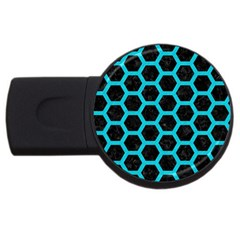 HEXAGON2 BLACK MARBLE & TURQUOISE COLORED PENCIL (R) USB Flash Drive Round (4 GB)