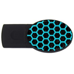 HEXAGON2 BLACK MARBLE & TURQUOISE COLORED PENCIL (R) USB Flash Drive Oval (4 GB)