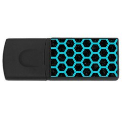 Hexagon2 Black Marble & Turquoise Colored Pencil (r) Rectangular Usb Flash Drive by trendistuff