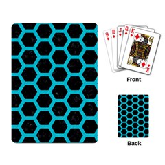 HEXAGON2 BLACK MARBLE & TURQUOISE COLORED PENCIL (R) Playing Card