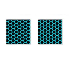 HEXAGON2 BLACK MARBLE & TURQUOISE COLORED PENCIL (R) Cufflinks (Square)
