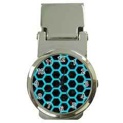 HEXAGON2 BLACK MARBLE & TURQUOISE COLORED PENCIL (R) Money Clip Watches