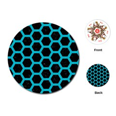 HEXAGON2 BLACK MARBLE & TURQUOISE COLORED PENCIL (R) Playing Cards (Round)