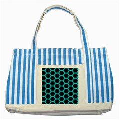HEXAGON2 BLACK MARBLE & TURQUOISE COLORED PENCIL (R) Striped Blue Tote Bag