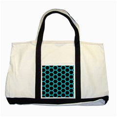 HEXAGON2 BLACK MARBLE & TURQUOISE COLORED PENCIL (R) Two Tone Tote Bag