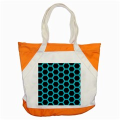 HEXAGON2 BLACK MARBLE & TURQUOISE COLORED PENCIL (R) Accent Tote Bag