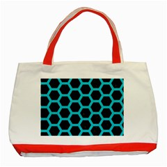 HEXAGON2 BLACK MARBLE & TURQUOISE COLORED PENCIL (R) Classic Tote Bag (Red)