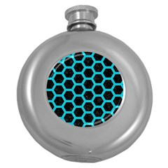 HEXAGON2 BLACK MARBLE & TURQUOISE COLORED PENCIL (R) Round Hip Flask (5 oz)
